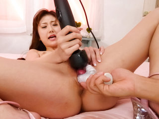Astonishing Yura Kasumi tests different vibrators with her alluring snatch
